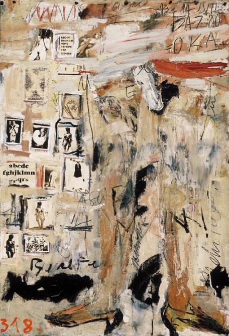 Frey Krisztián: Lolita I  1966-69 122x84 cm applikáció/olaj faroston